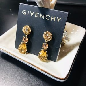 Beautiful Givenchy yellow crystal earrings NWT